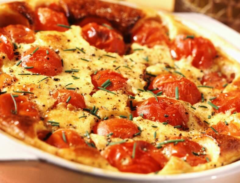 Clafoutis tomates, feta, olives et basilic