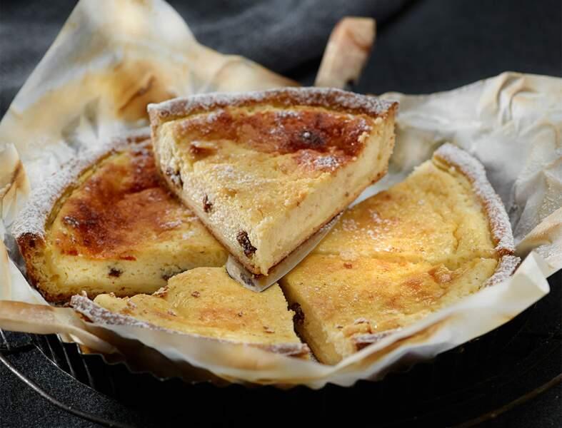 Tarte au fromage blanc et aux raisins