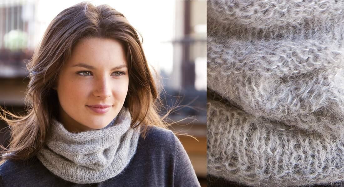 Modèle de tricot gratuit : le snood jersey en alpaga