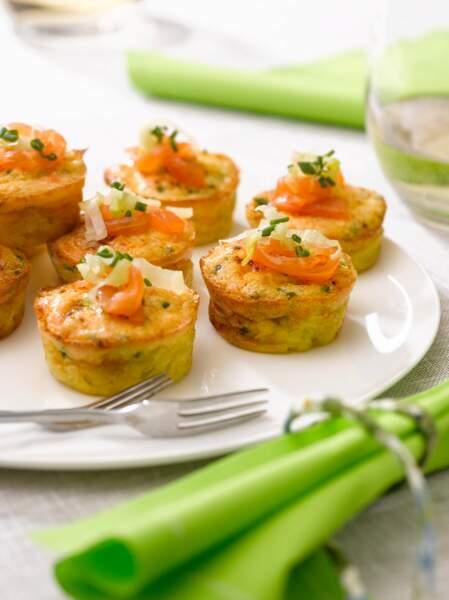 Bouchées de quiche sans pâte au saumon fumé
