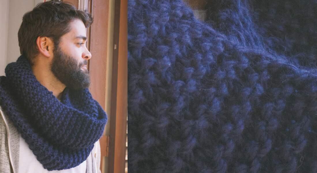 Modèle de tricot gratuit : le snood point mousse pour homme