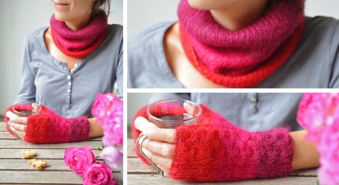 Modèle de tricot gratuit : le snood et des mitaines assorties