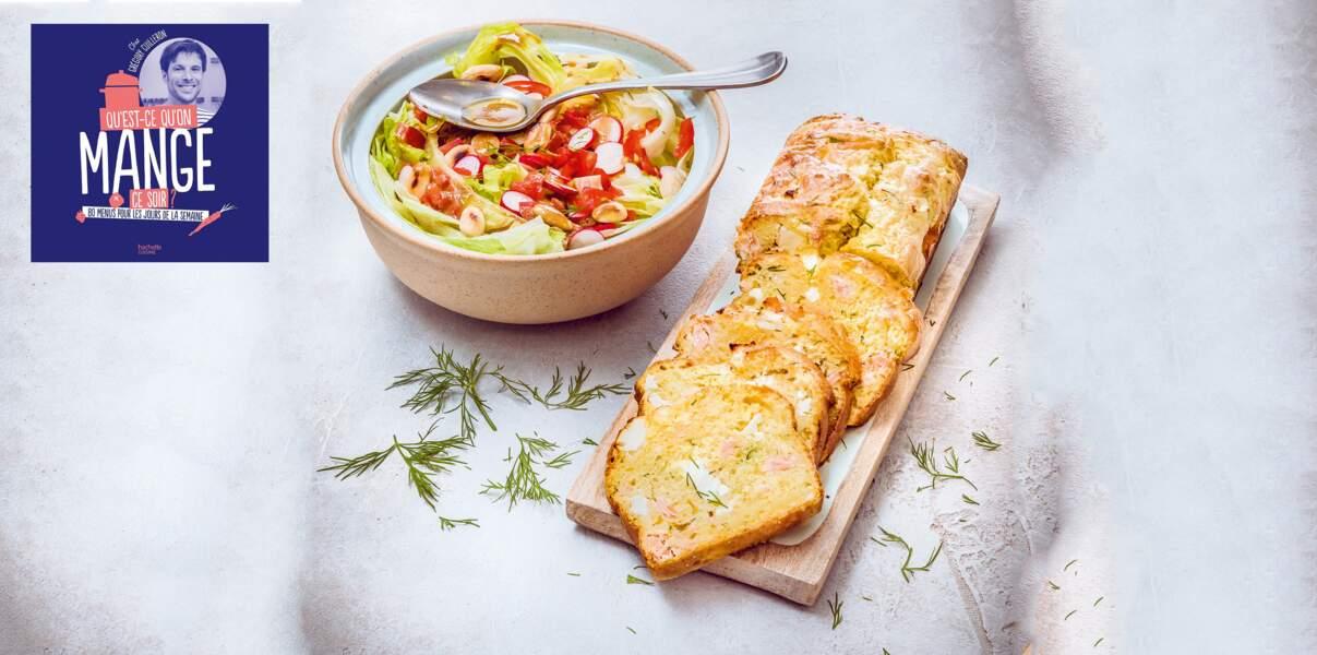 Cake saumon-feta-aneth et salade aux amandes de Grégory Cuilleron