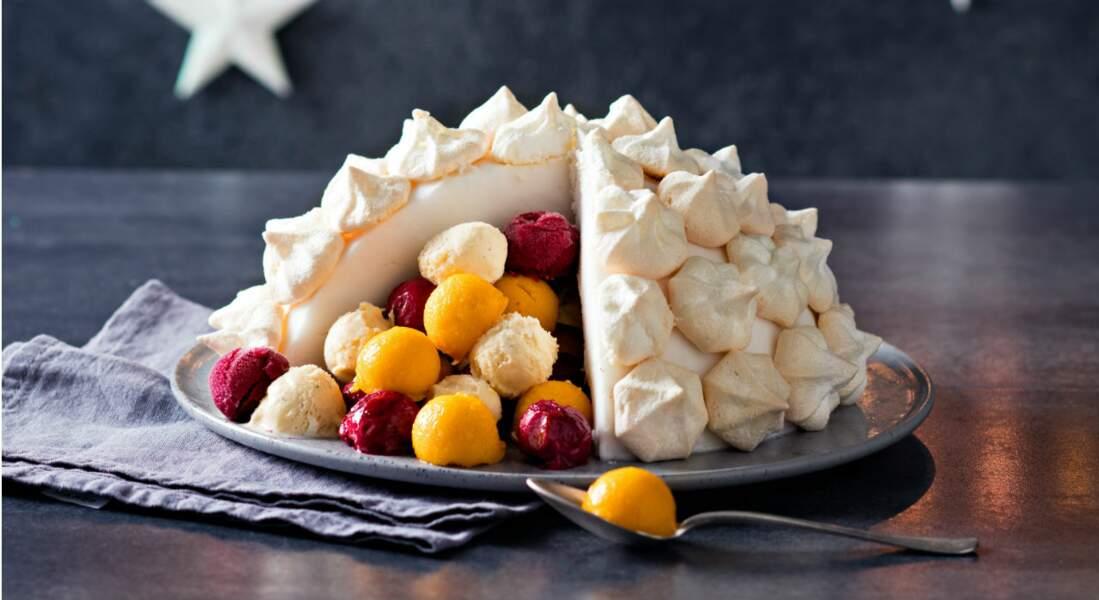 Dessert glacé en forme d'igloo
