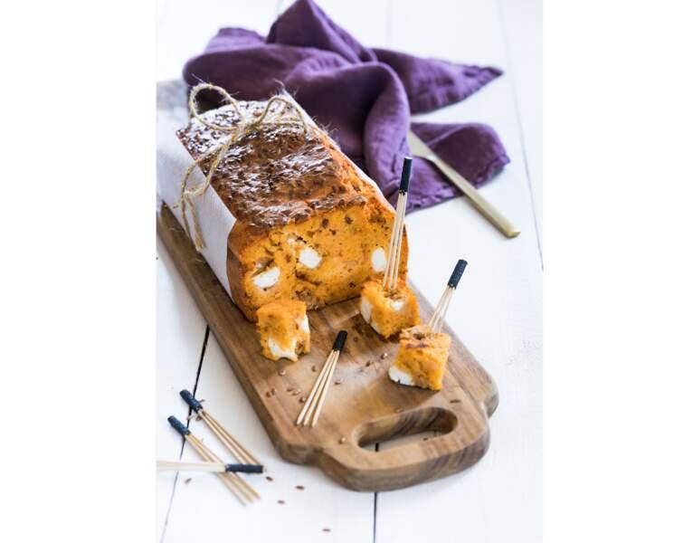 Cake au thon « Tomate origan » Saupiquet, oignons caramélisés et féta