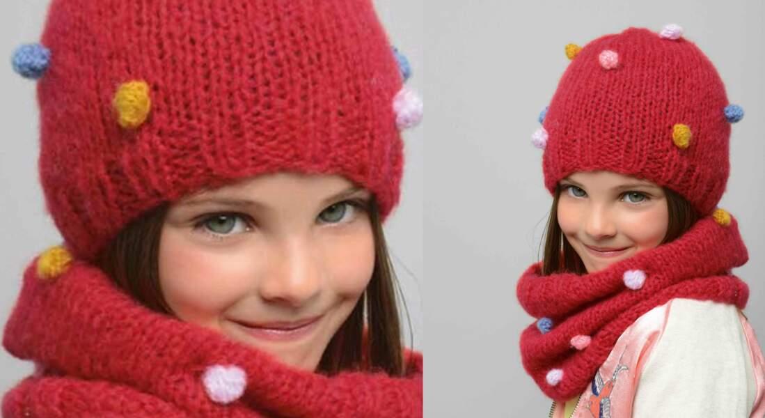Modèle de tricot gratuit : le bonnet et snood coordonnés pour enfant