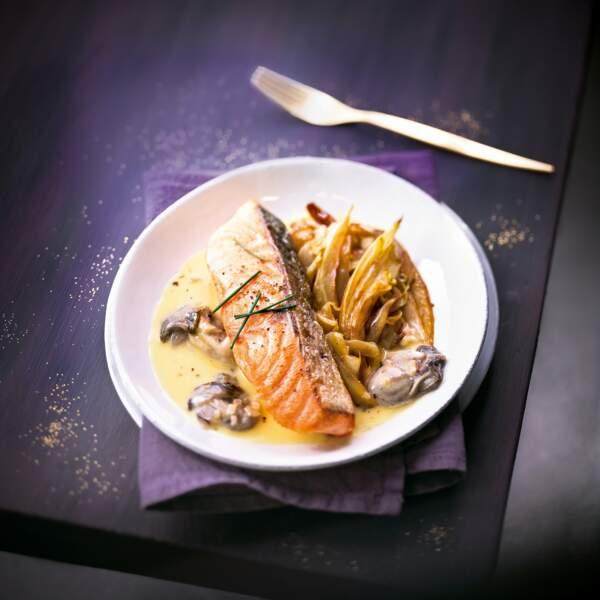 Pavé de saumon et beurre blanc, huîtres et curcuma
