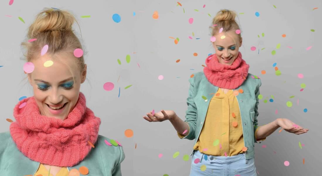 Modèle de tricot gratuit : le snood en point fantaisie pour enfant