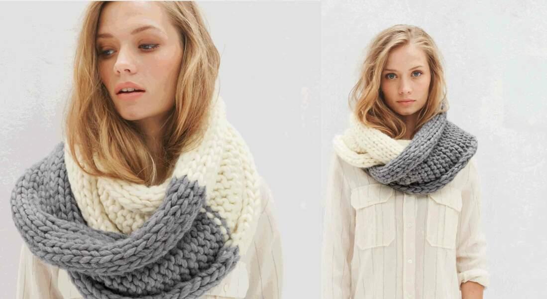 Modèle de tricot gratuit : le snood en gros fil