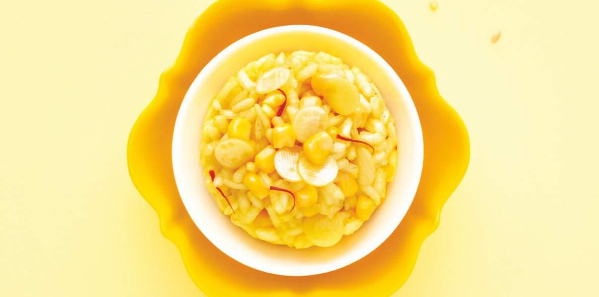 Risotto safrané au maïs sur lit de courgettes jaunes