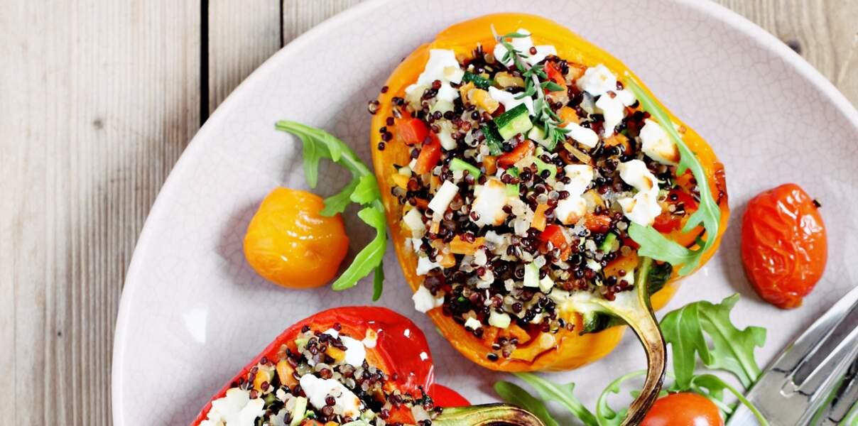 Poivrons farcis au quinoa et à la feta