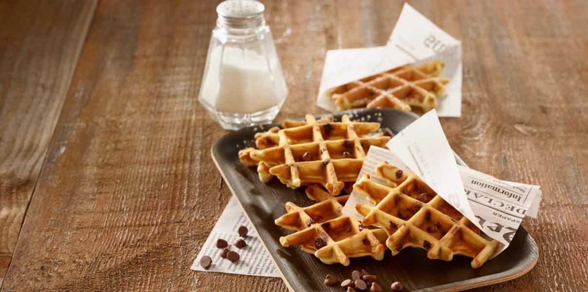 Gaufres aux pépites de chocolat au lait