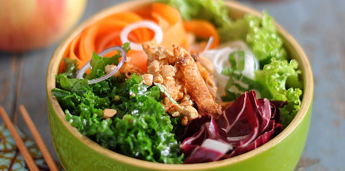 Bol de poulet au chou kale