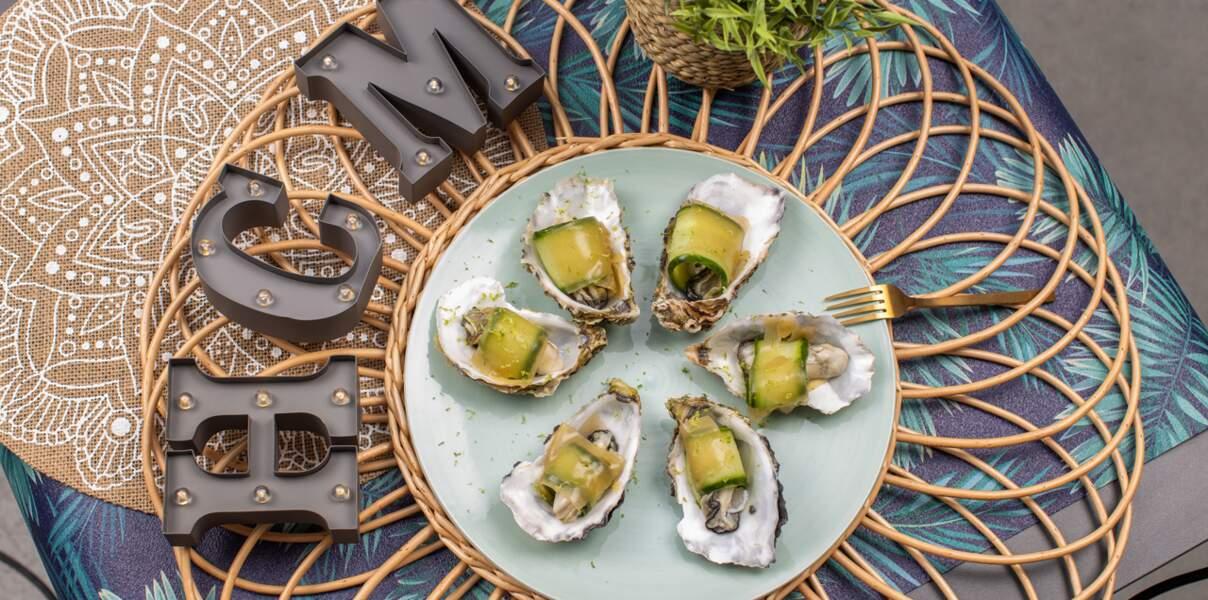 Raviole d'huître, concombre et citron vert