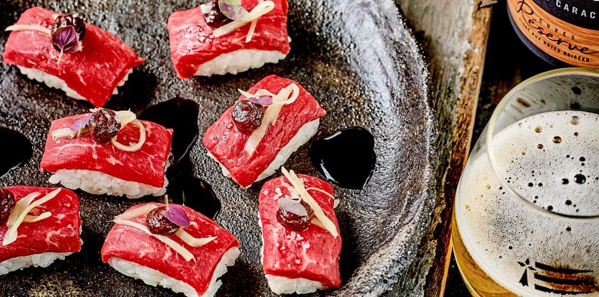Sushi de bœuf, moutarde et gingembre
