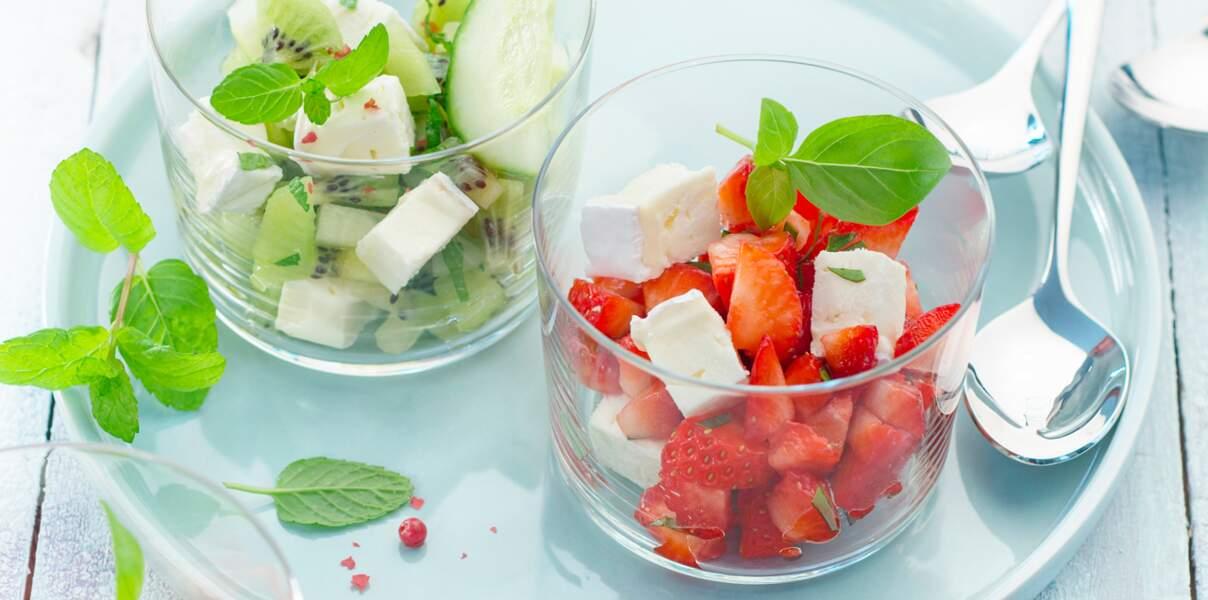 Tartare de fraises et basilic, tartare de concombre et kiwi menthe