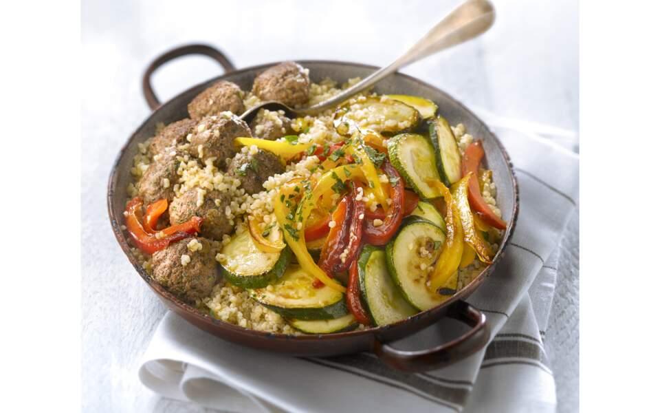 Boulettes de boeuf aux légumes d'été et boulghour
