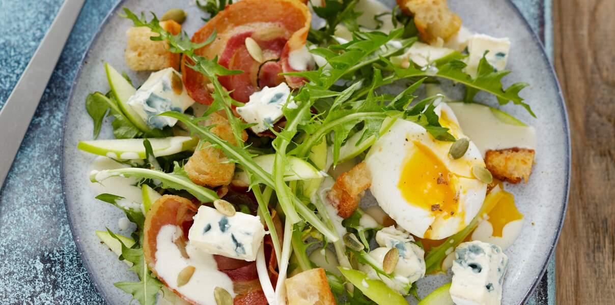 Salade gourmande de pissenlit au Suprême de Bresse Bleu