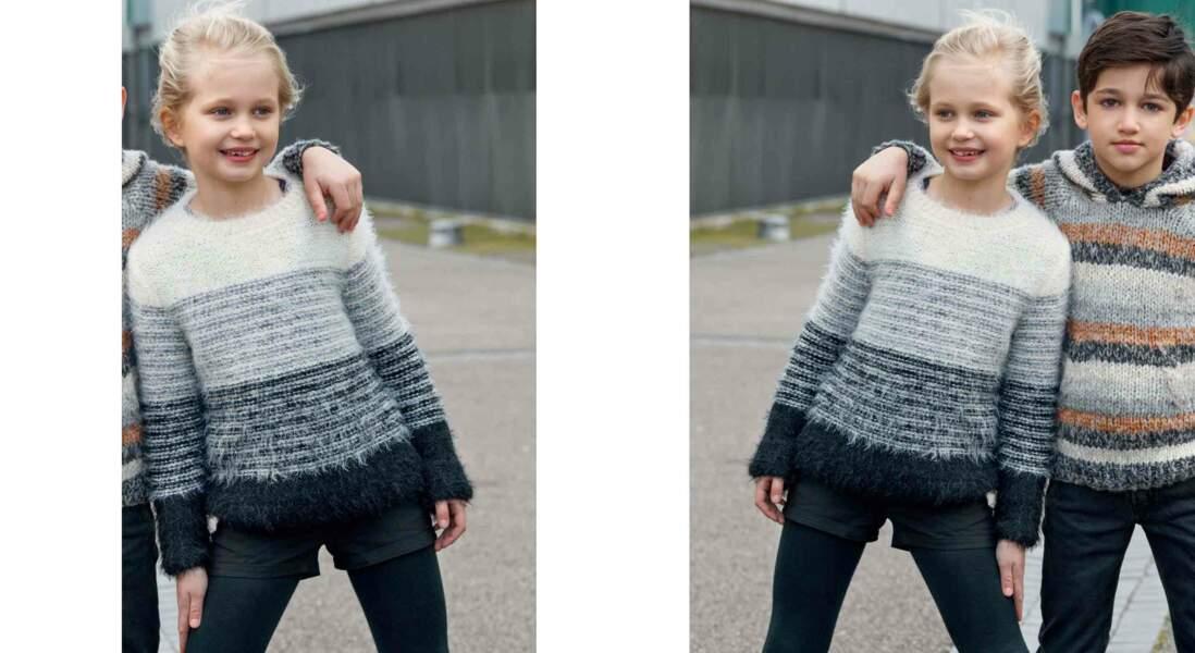 Tricot gratuit : le pull fillette jersey rayé