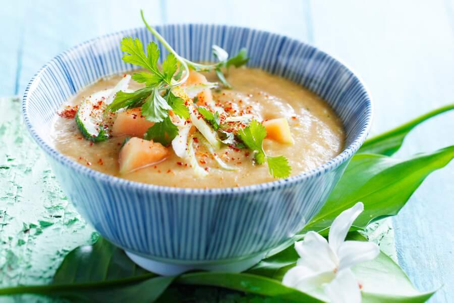 Soupe glacée melon-coco
