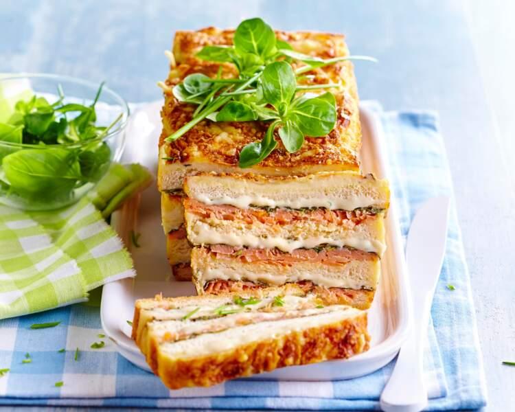 Croque-cake saumon et mâche