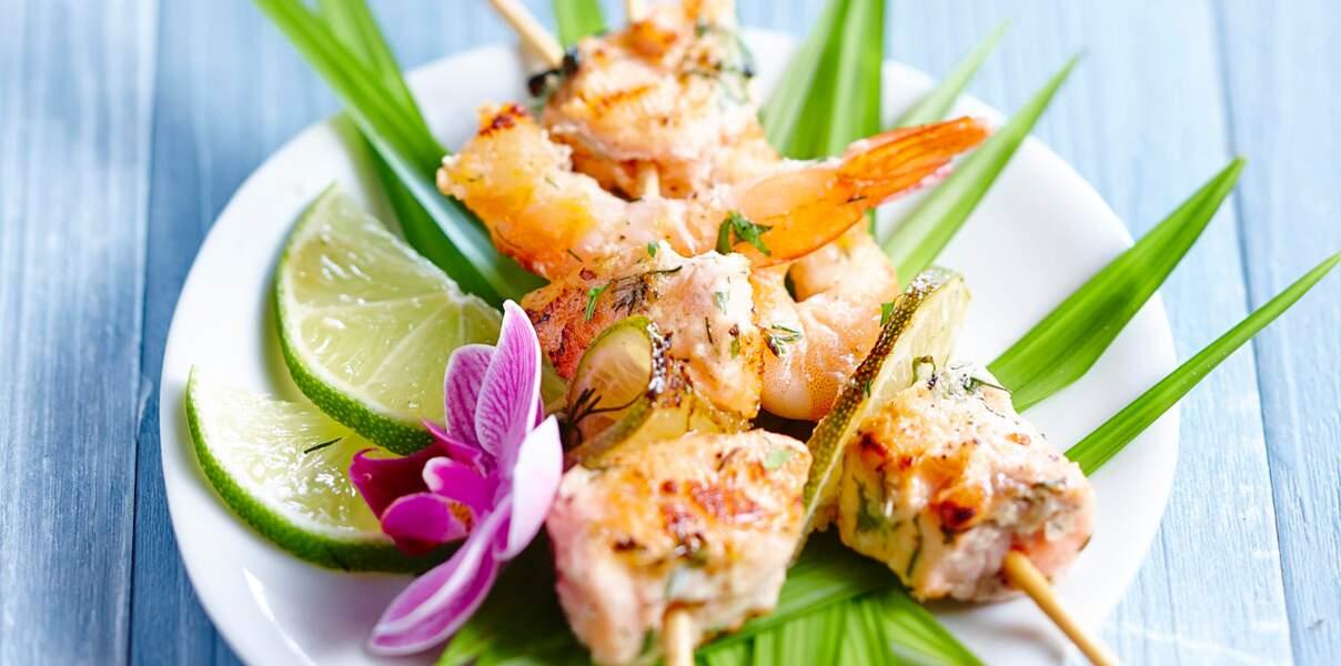 Brochettes de saumon mariné à l'exotique