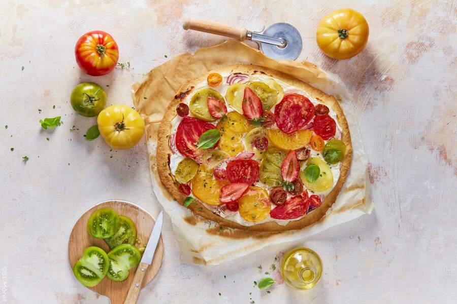 Tarte fine tomates et fraises