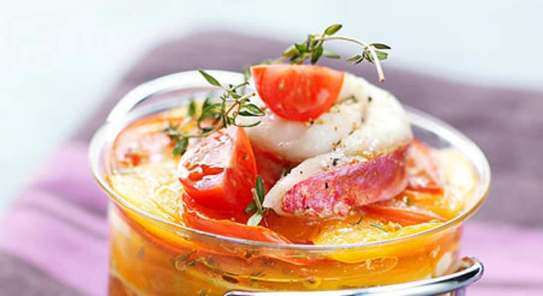 Millefeuille de rougets aux tomates