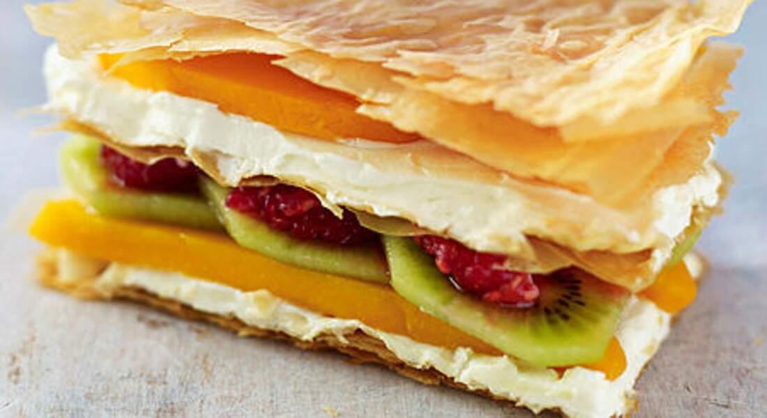 Millefeuille  léger au fromage frais, mangue et kiwi