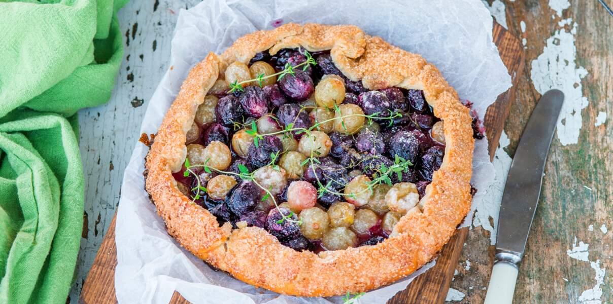 Tarte sucrée thym et raisins