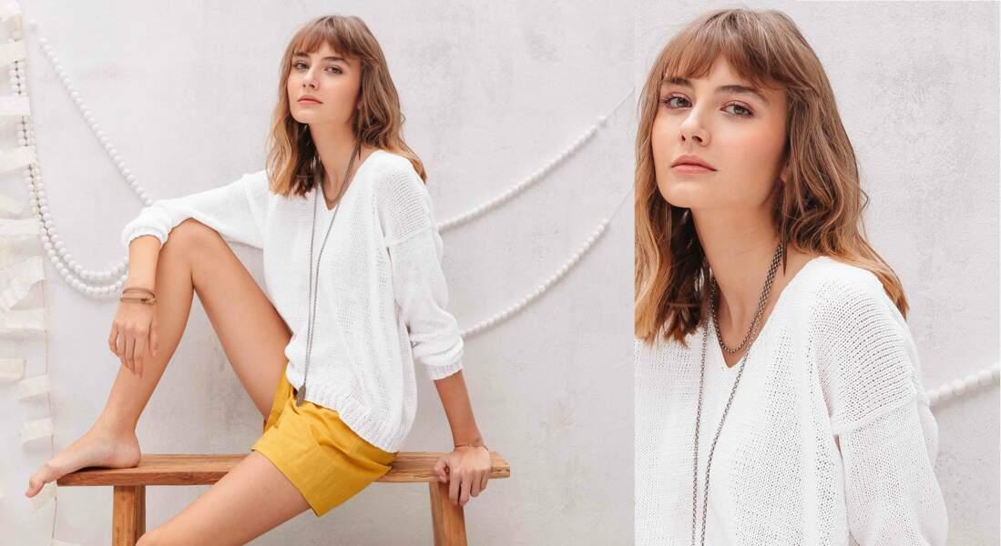Tricot gratuit : le pull blanc coton jersey