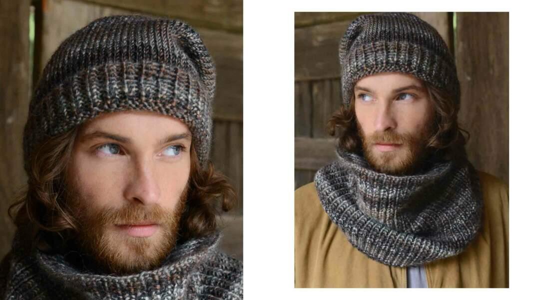 Modèle de tricot gratuit : le bonnet et snood coordonnés pour homme