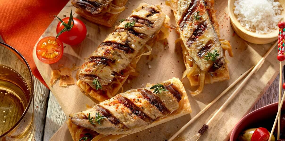 Tartine façon pissaladière aux filets de sardines grillés