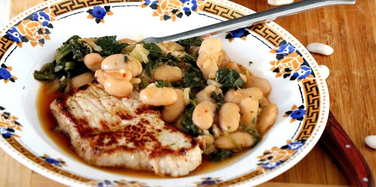 Escalope de veau et haricots tarbais aux épinards et au cumim