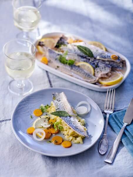 Maquereaux au vin blanc et pommes de terre écrasées