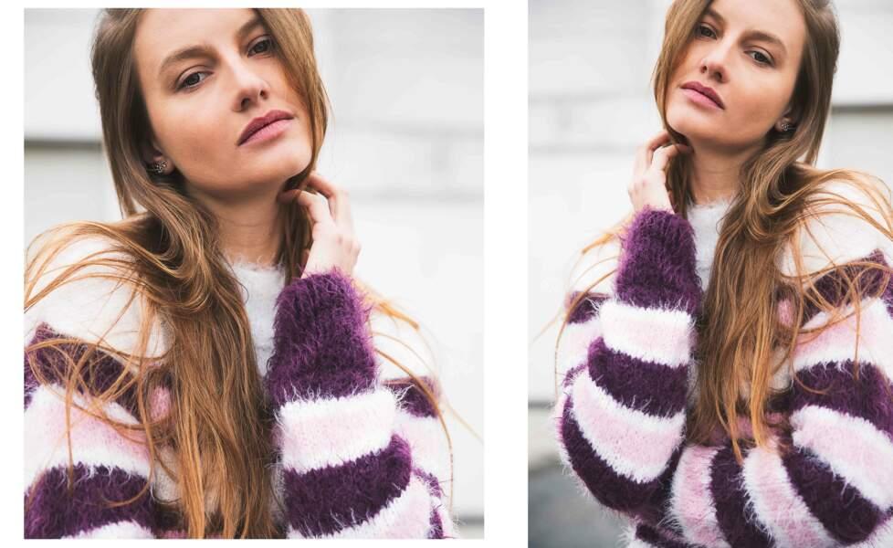 Tricot gratuit : le pull rayé rose et violet