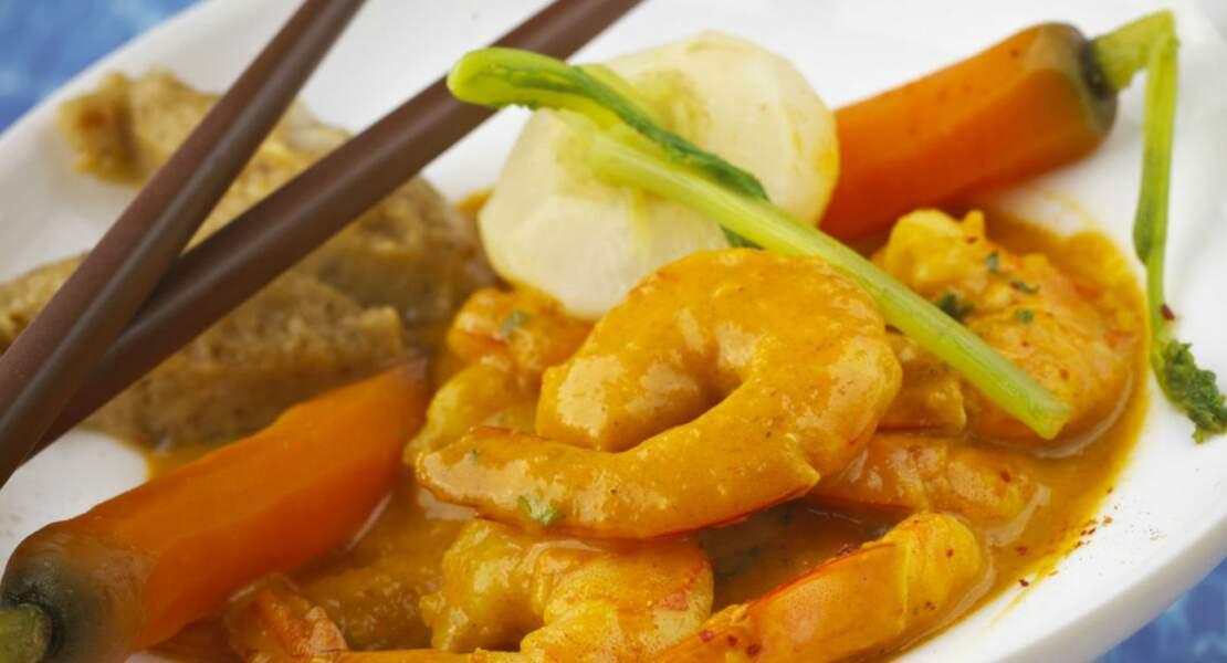 Curry de crevettes à la banane