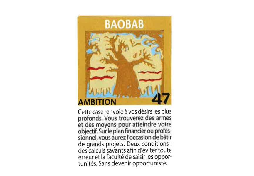 Jeu de l'oie divinatoire : baobab