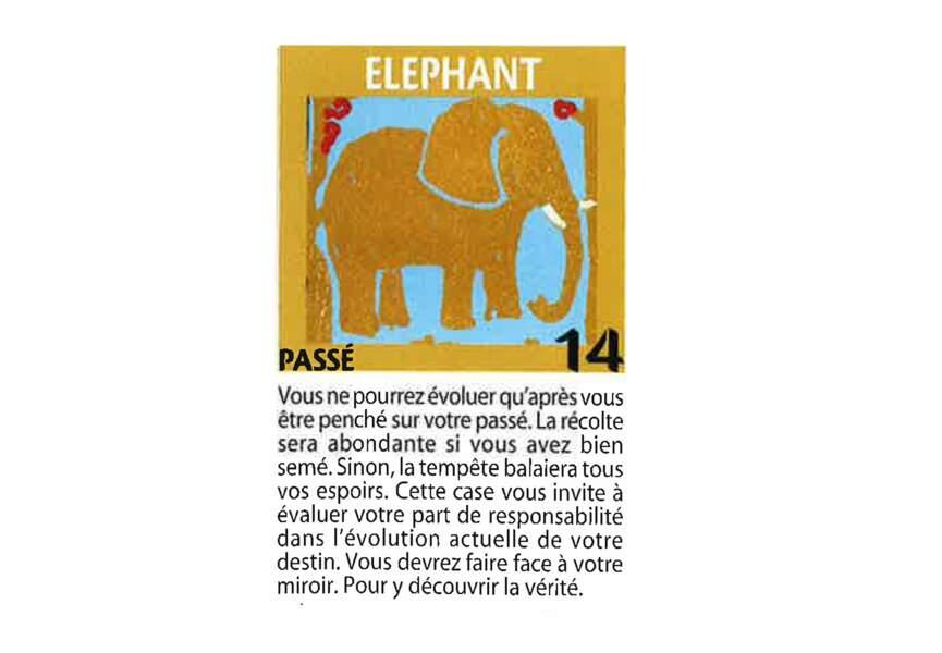 Jeu de l'oie divinatoire : éléphant