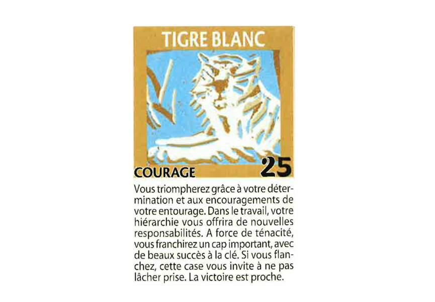 Jeu de l'oie divinatoire : tigre blanc