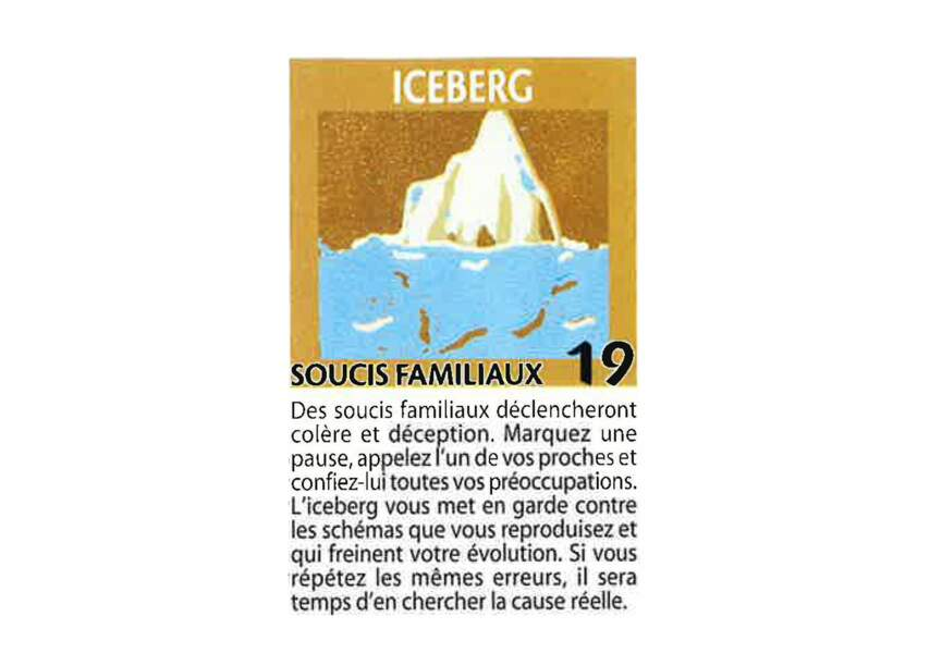 Jeu de l'oie divinatoire : iceberg