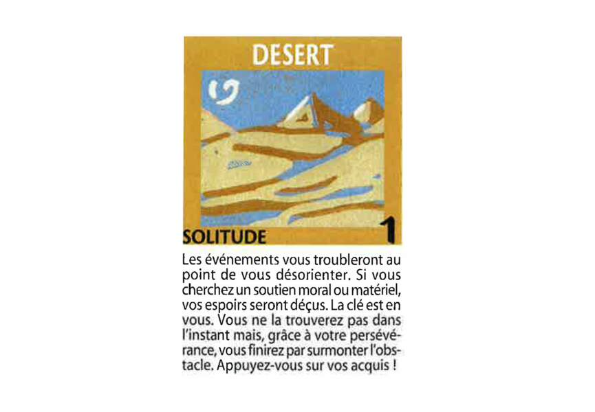 Jeu de l'oie divinatoire : désert