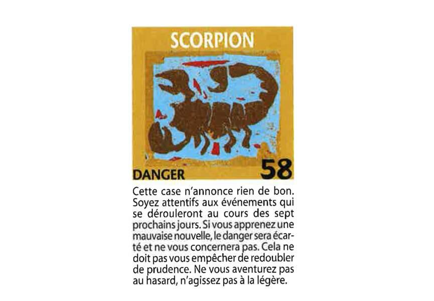 Jeu de l'oie divinatoire : scorpion
