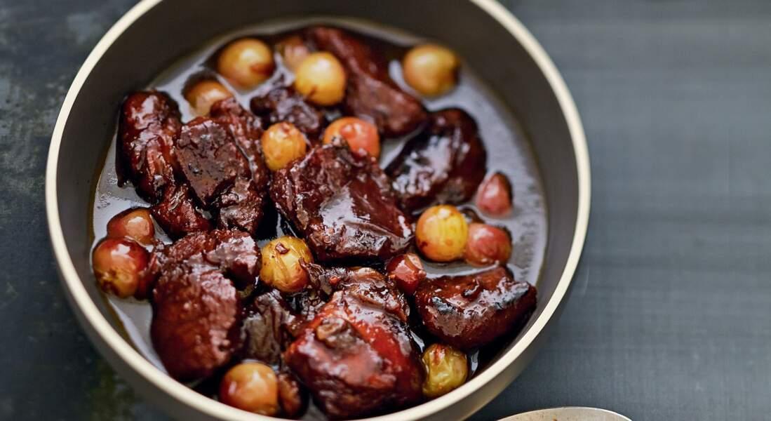 Tajine d'agneau caramelisé aux raisins