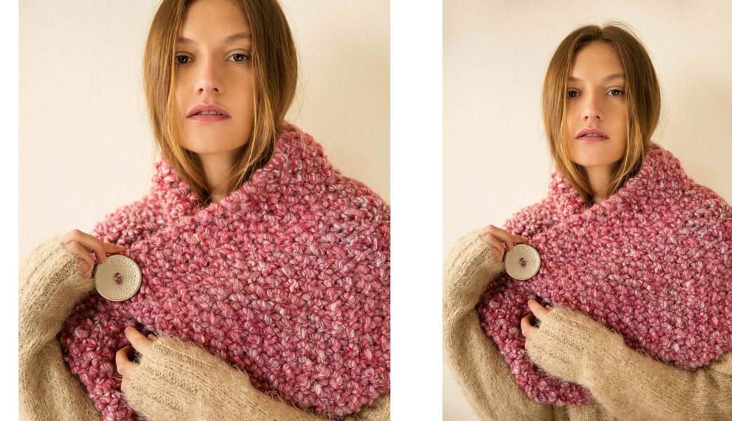 Modèle de tricot gratuit : le snood boutonné