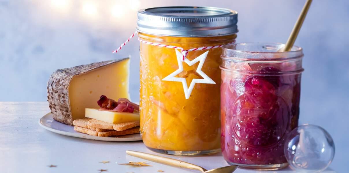 Chutney d'oignon rouge & raisins secs et chutney de mangue & d'ananas