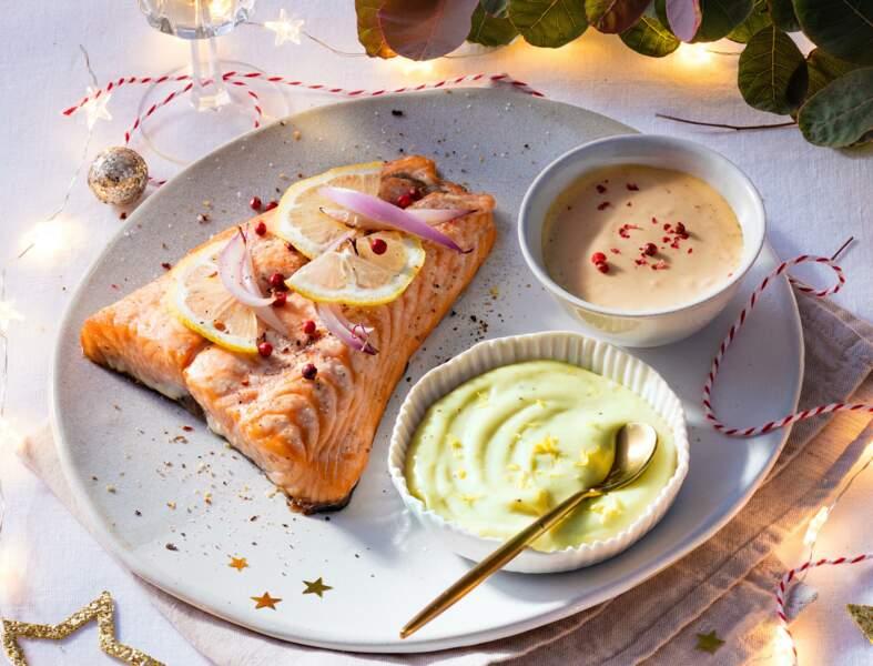 Saumon au court-bouillon et mayonnaises revisitées