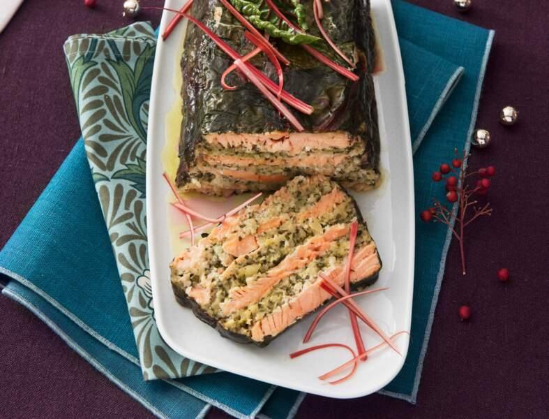 Terrine de saumon aux amandes, blettes et citron