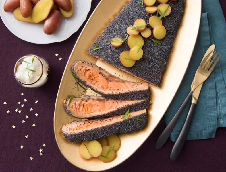 Saumon mi-cuit aux graines de pavot