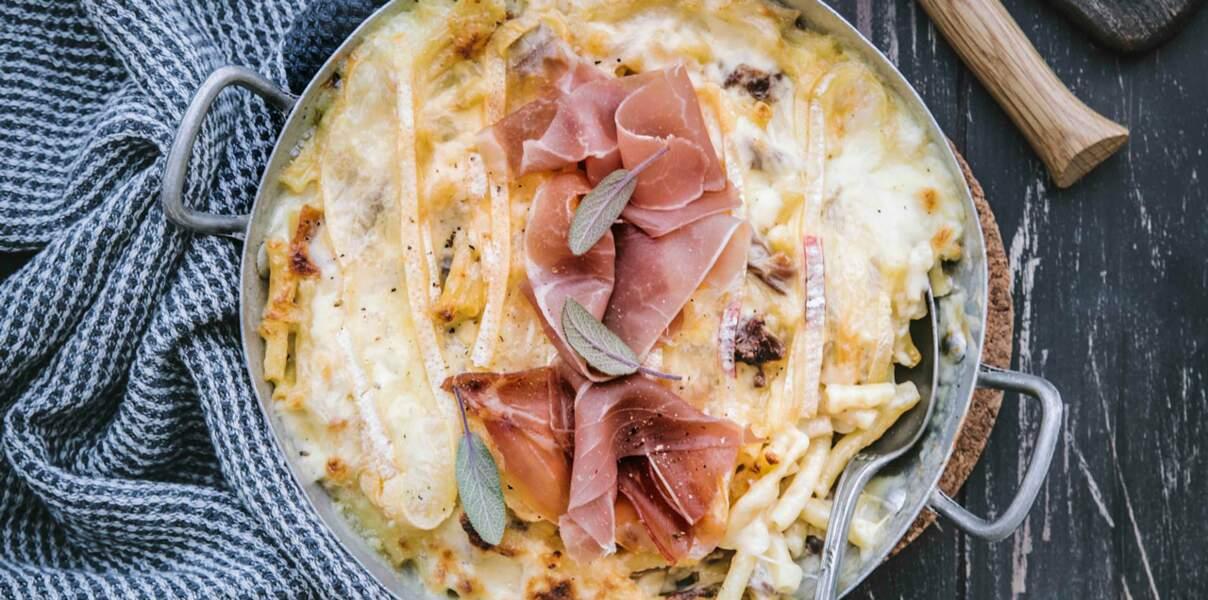 Mac and cheese façon tartiflette et jambon cru Aoste